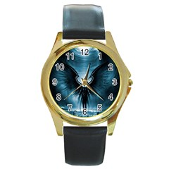 Rising Angel Fantasy Round Gold Metal Watch