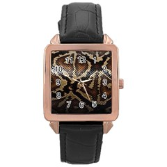 Snake Skin Olay Rose Gold Leather Watch