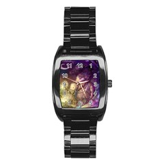 Cartoons Video Games Multicolor Stainless Steel Barrel Watch