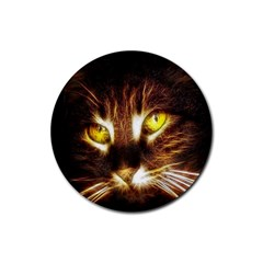 Cat Face Rubber Round Coaster (4 pack)