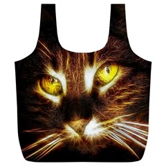 Cat Face Full Print Recycle Bags (L)