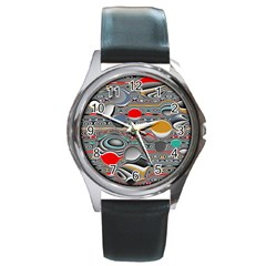 Changing Forms Abstract Round Metal Watch