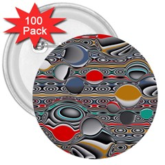 Changing Forms Abstract 3  Buttons (100 Pack)