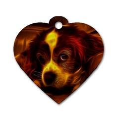 Cute 3d Dog Dog Tag Heart (One Side)