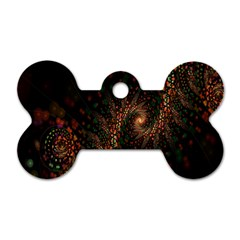 Multicolor Fractals Digital Art Design Dog Tag Bone (Two Sides)
