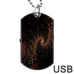 Multicolor Fractals Digital Art Design Dog Tag USB Flash (Two Sides)