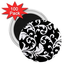 Vector Classical  Traditional Black And White Floral Patterns 2.25  Magnets (100 pack)