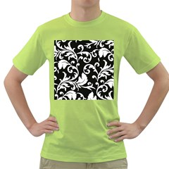 Vector Classical  Traditional Black And White Floral Patterns Green T-Shirt