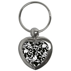 Vector Classical  Traditional Black And White Floral Patterns Key Chains (Heart)