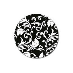 Vector Classical  Traditional Black And White Floral Patterns Magnet 3  (Round)