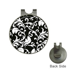 Vector Classical  Traditional Black And White Floral Patterns Hat Clips with Golf Markers