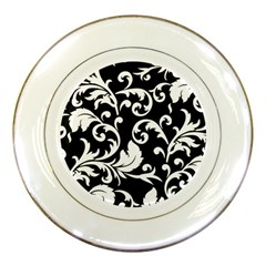 Vector Classical  Traditional Black And White Floral Patterns Porcelain Plates
