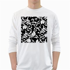 Vector Classical  Traditional Black And White Floral Patterns White Long Sleeve T-Shirts