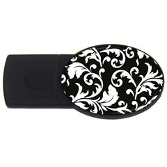 Vector Classical  Traditional Black And White Floral Patterns USB Flash Drive Oval (4 GB)