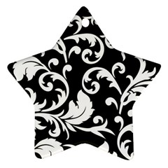 Vector Classical  Traditional Black And White Floral Patterns Star Ornament (Two Sides)