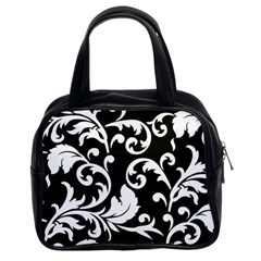 Vector Classical  Traditional Black And White Floral Patterns Classic Handbags (2 Sides)