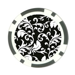 Vector Classical  Traditional Black And White Floral Patterns Poker Chip Card Guard (10 pack)