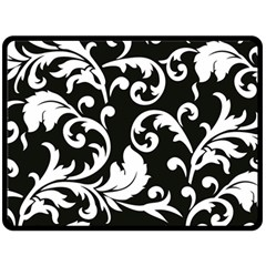 Vector Classical  Traditional Black And White Floral Patterns Fleece Blanket (Large)