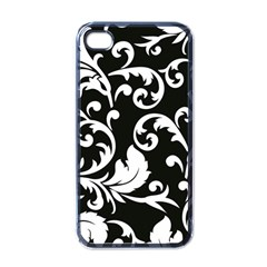Vector Classical  Traditional Black And White Floral Patterns Apple iPhone 4 Case (Black)