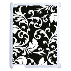 Vector Classical  Traditional Black And White Floral Patterns Apple iPad 2 Case (White)