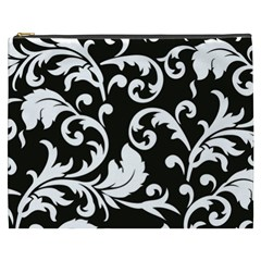 Vector Classical  Traditional Black And White Floral Patterns Cosmetic Bag (XXXL)