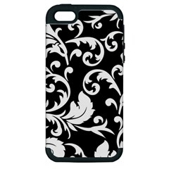 Vector Classical  Traditional Black And White Floral Patterns Apple iPhone 5 Hardshell Case (PC+Silicone)