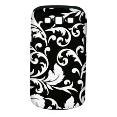 Vector Classical  Traditional Black And White Floral Patterns Samsung Galaxy S III Classic Hardshell Case (PC+Silicone)