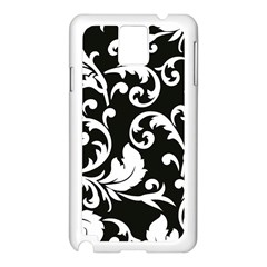 Vector Classical  Traditional Black And White Floral Patterns Samsung Galaxy Note 3 N9005 Case (White)