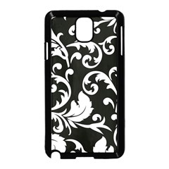 Vector Classical  Traditional Black And White Floral Patterns Samsung Galaxy Note 3 Neo Hardshell Case (Black)