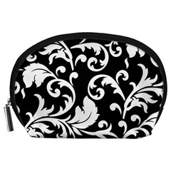 Vector Classical  Traditional Black And White Floral Patterns Accessory Pouches (Large)