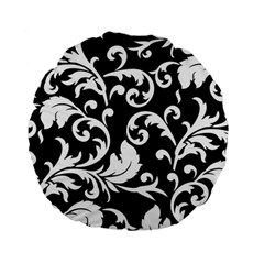 Vector Classical  Traditional Black And White Floral Patterns Standard 15  Premium Flano Round Cushions