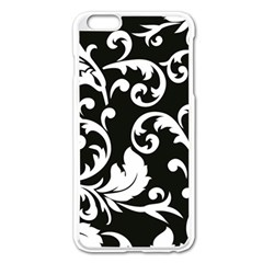 Vector Classical  Traditional Black And White Floral Patterns Apple iPhone 6 Plus/6S Plus Enamel White Case