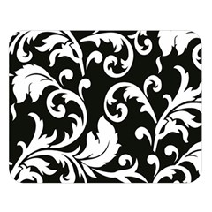 Vector Classical  Traditional Black And White Floral Patterns Double Sided Flano Blanket (Large)
