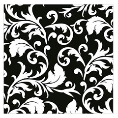 Vector Classical  Traditional Black And White Floral Patterns Large Satin Scarf (Square)