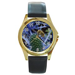 Chihuly Garden Bumble Round Gold Metal Watch