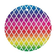 Colorful Rainbow Moroccan Pattern Ornament (Round)