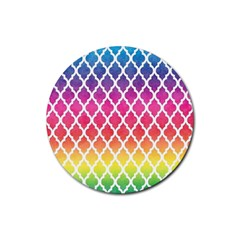 Colorful Rainbow Moroccan Pattern Rubber Coaster (Round)