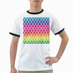 Colorful Rainbow Moroccan Pattern Ringer T-Shirts