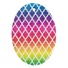 Colorful Rainbow Moroccan Pattern Oval Ornament (Two Sides)