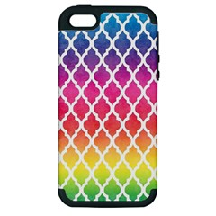 Colorful Rainbow Moroccan Pattern Apple iPhone 5 Hardshell Case (PC+Silicone)