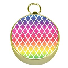 Colorful Rainbow Moroccan Pattern Gold Compasses