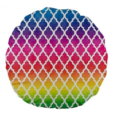 Colorful Rainbow Moroccan Pattern Large 18  Premium Flano Round Cushions