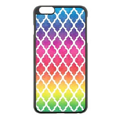 Colorful Rainbow Moroccan Pattern Apple iPhone 6 Plus/6S Plus Black Enamel Case