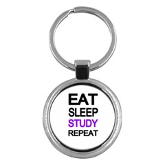 Eat sleep study repeat Key Chains (Round)