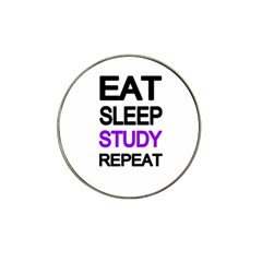 Eat sleep study repeat Hat Clip Ball Marker
