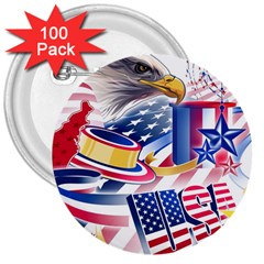 United States Of America Usa Images Independence Day 3  Buttons (100 pack)