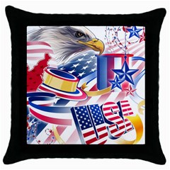 United States Of America Usa Images Independence Day Throw Pillow Case (Black)