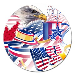 United States Of America Usa Images Independence Day Magnet 5  (Round)
