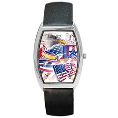 United States Of America Usa Images Independence Day Barrel Style Metal Watch
