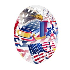 United States Of America Usa Images Independence Day Oval Filigree Ornament (Two Sides)